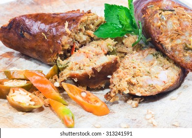 smoked sausage against on white background, Local cuisine of northern Thailand