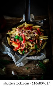 Smoked Sausage Penne Pasta.style rustic .selective focus