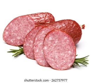 Smoked sausage salami isolated on white background cutout