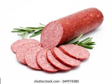 Smoked sausage salami isolated on a white background