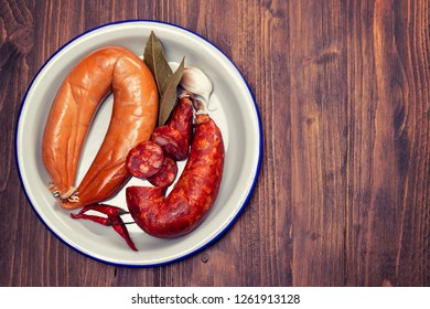 smoked sausages on dish
