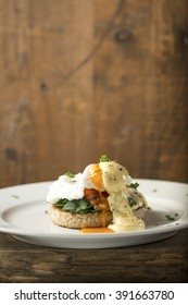 Smoked Trout, poached egg and spinach on a toasted English Muffin