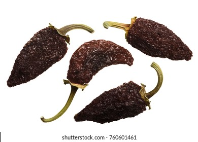 Smoke-dried overripe Jalapeno chile peppers or Chipotles. Top view, clipping path