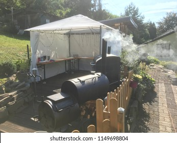 Smoker grill in the garden
