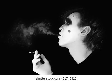 smoker mime on  black background