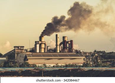 Smokestack in factory, polution