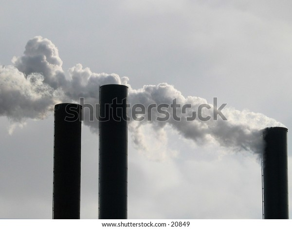 Smokestacks in Minneapolis, Minnesota.
