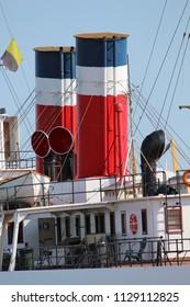 Smokestacks on a military ship