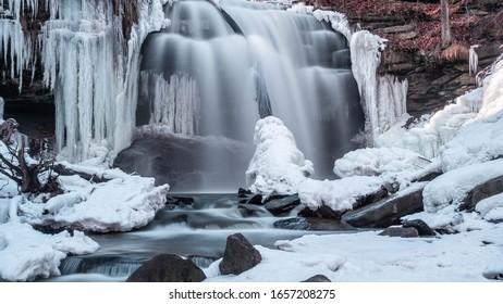 Smokey Hollow Winter Waterfall on the Niagara Escarpment near Hamilton Ontario