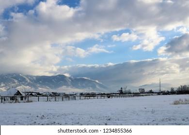 Smokey Winter Mountains of Bozeman Montana