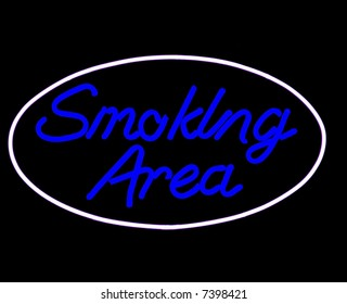 smoking area neon sign isolated on black
