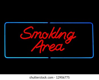 smoking area neon sign on black