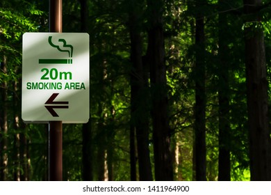 """""""SMOKING AREA"""" sign Separating smoking areas from non-smoking areas in the park written in English."""