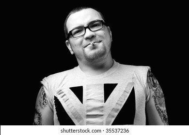 Smoking biker