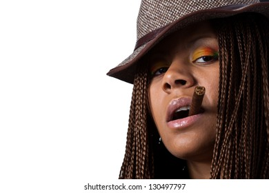 smoking black young woman with cigar