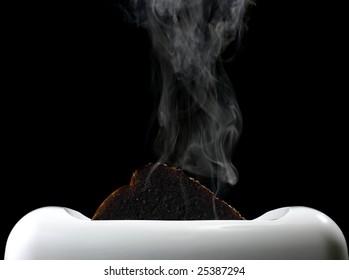 Smoking Burnt Toast in Toaster