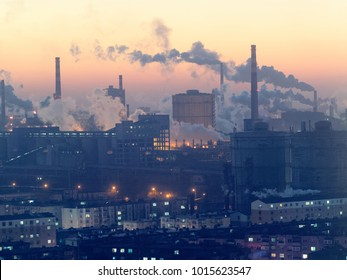 smoking chimneys in Anshan - industrial city in northern china