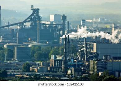 smoking chimneys in the metal industry. business park