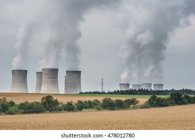 smoking chimneys of a nuclear power plant Dukovany-Czech Republic