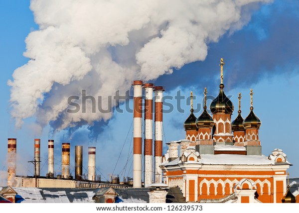 Smoking chimneys other blue sky