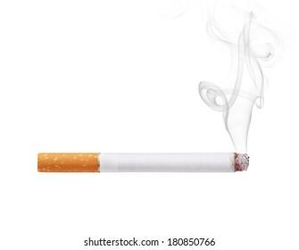Smoking cigarette isolated on white background