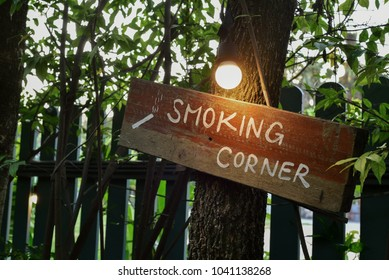 Smoking corner sign board with bulb light