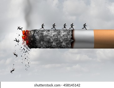 Smoking death and danger concept as a cigarette burning with people falling and escaping the hot burning ash as a metaphor causing lung cancer and lethal health risks with 3D illustration elements.