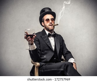 smoking elegant man