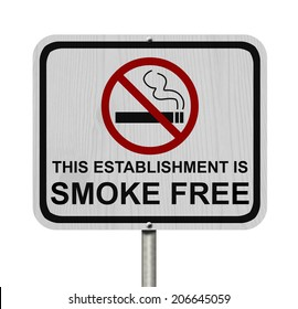 Smoking Free Establishment Sign, An red road sign with cigarette icon and not symbol with text isolated on white