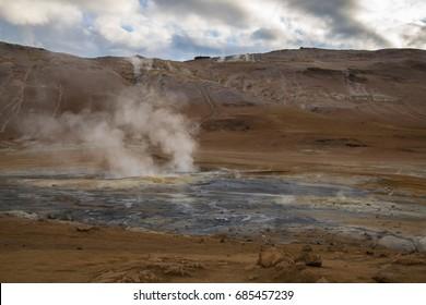 Smoking geothermal vent, Myvatn, Iceland