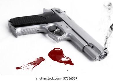 Smoking gun and blood splatter