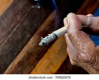 smoking and hand old