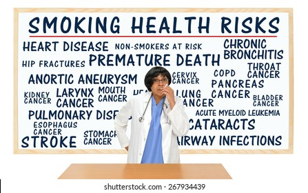 Smoking Health Risks Whiteboard: Premature Death, Lung, Kidney, Larynx, Pancreas, Cervix, Stomach, Esophagus, Bladder Cancer, Pulmonary Disease, Heart Disease, Non-smokers Risk