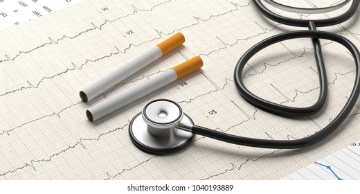 Smoking and health. Stethoscope and cigarettes on a cardiogram background. 3d illustration