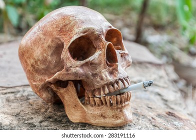 Smoking human scull
