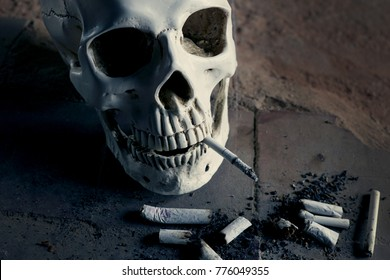 Smoking kills concept, portrait of a smoking skull