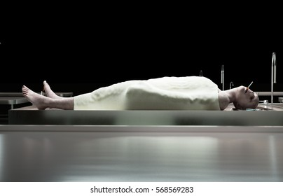 Smoking kills. dead male body in morgue on steel table. Corpse. Autopsy concept. 3d rendering.