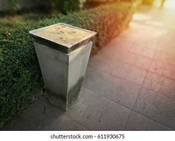 smoking place in parking,sand pot of cigarettes after smoked