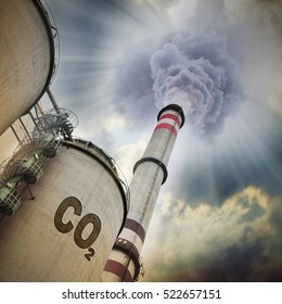 Smoking stack from lignite power plant. Digital artwork on air pollution and climate change theme.