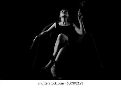 smoking woman black and white portrait in retro style