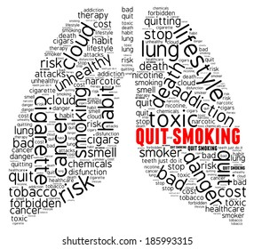 Smoking word cloud concept isolated