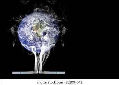 Smoking World. World no tobacco day, 31 may. isolated on black background. Elements of this image furnished by NASA