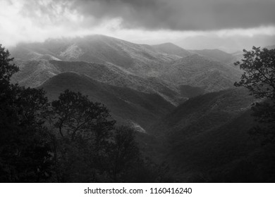 Smoky and Blue Ridge Mountains in black in white tone.