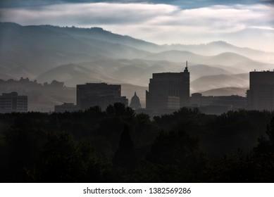Smoky Boise Skyline sunrise summer