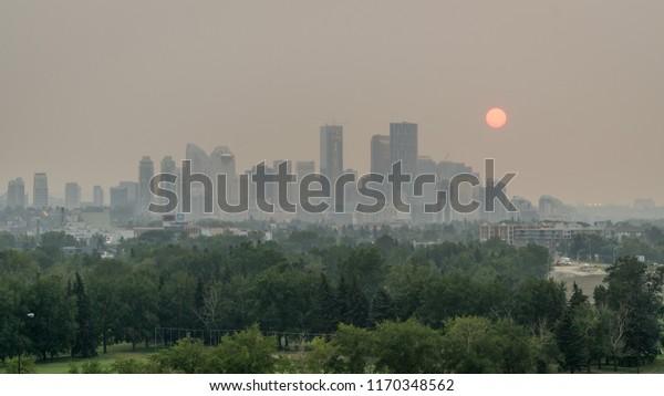 Smoky Calgary skies, Canada, Alberta
