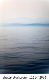 Smoky and foggy water surface of Lake Tahoe, California due to forest fires