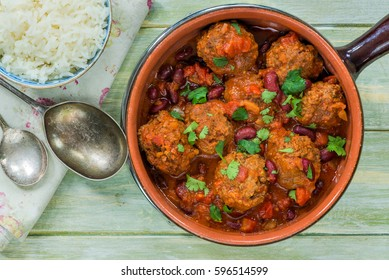 Smoky Mexican meatball stew with rice - top view