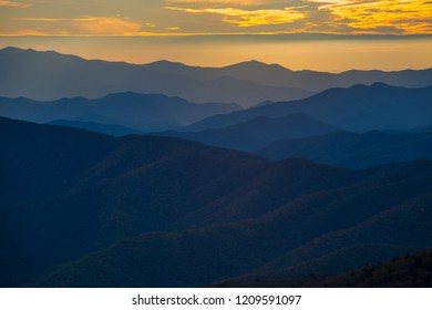 Smoky Mountain Colorful Sunset Scene Landscape Ridges Layer background