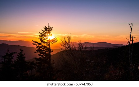 Smoky Mountain Sunset. Sunset from Clingmans Dome overlook of the Great Smoky Mountains National Park. The Smokies are America's most visited national park surpassing even Yellowstone and Yosemite.