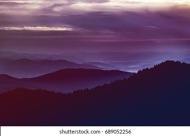 Smoky Mountains at Dusk from Newfound Gap